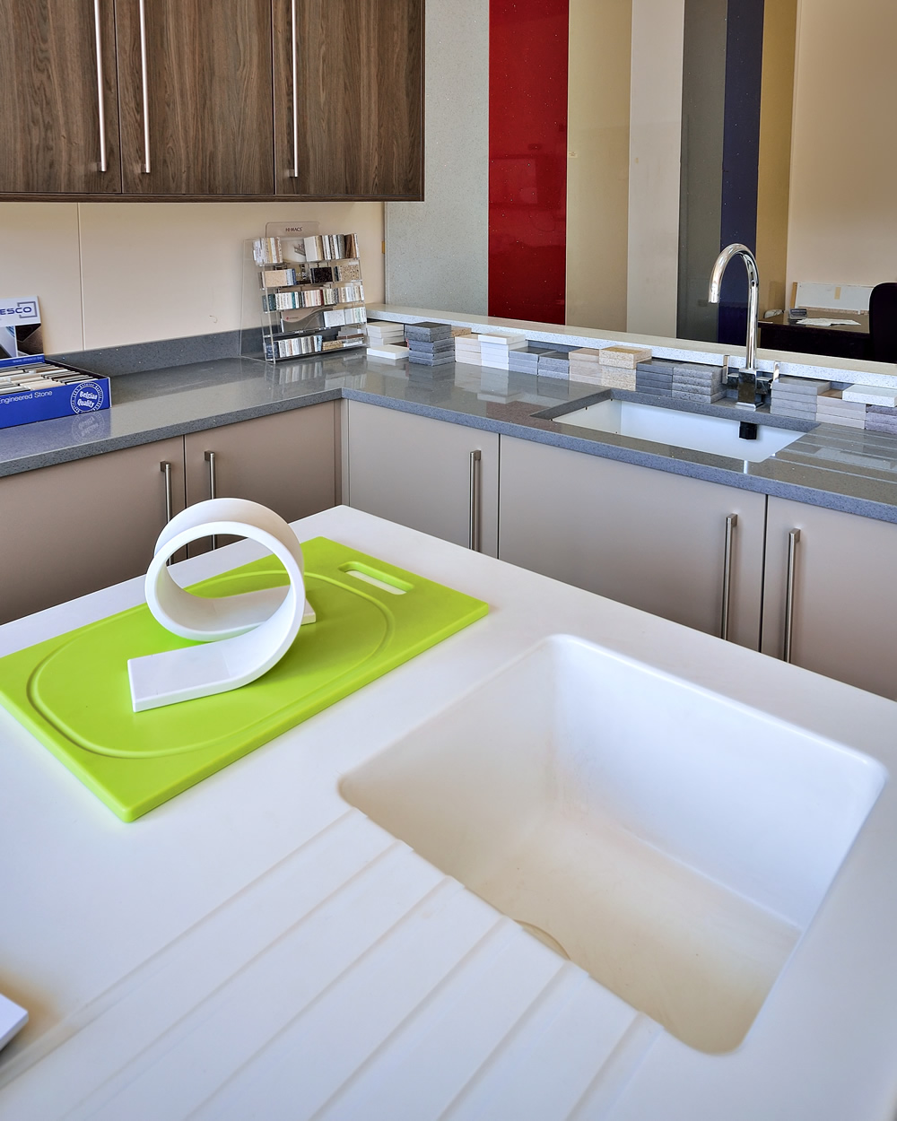 White polished solid surface countertop with eased for Corian solid surface countertops prices